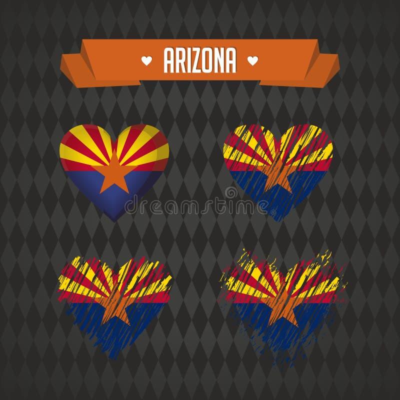Аризона с влюбленностью Разбитый сердце вектора дизайна с флагом внутрь иллюстрация штока