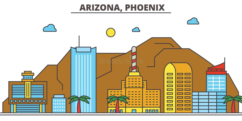 Аризона, Феникс вектор горизонта конструкции города предпосылки ваш иллюстрация штока