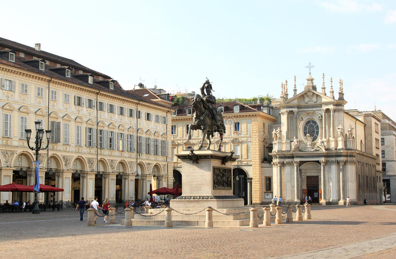 аркада san turin carlo угловойая Италии стоковая фотография rf