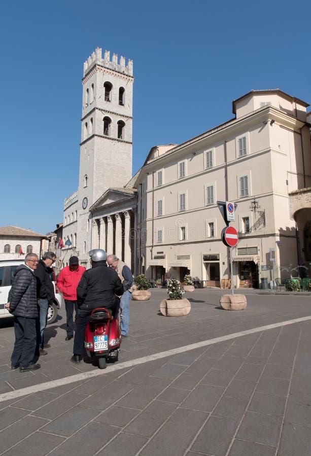 Аркада del Comune Квадрат, Assisi, Италия стоковое фото rf