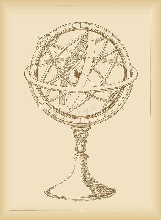 армиллярная сфера чертежа иллюстрация вектора