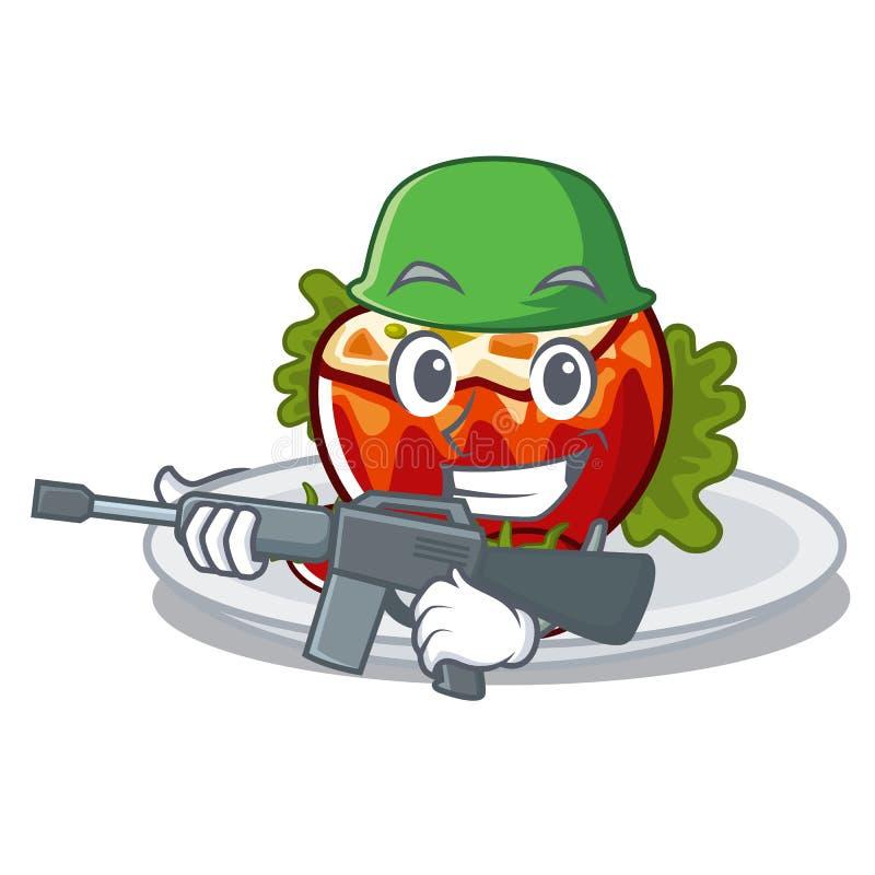 Армия заполнила томаты положенные на плиты характера бесплатная иллюстрация