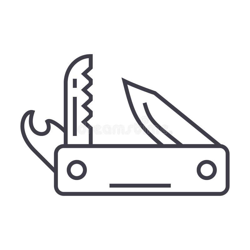 Армия ножа, универсальный инструмент, швейцарская складывая линия значок вектора ножа, знак, иллюстрация на предпосылке, editable иллюстрация штока