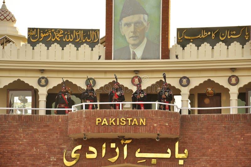 Армия Пакистана на границе waga стоковые фотографии rf