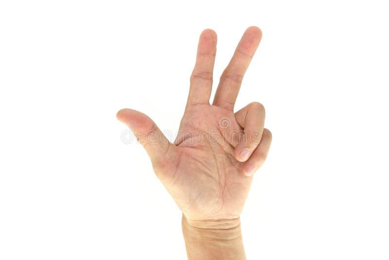 Армия/сигнал сигналов рукой Сват тактический: 3 3 изолированного на белой предпосылке стоковое фото rf