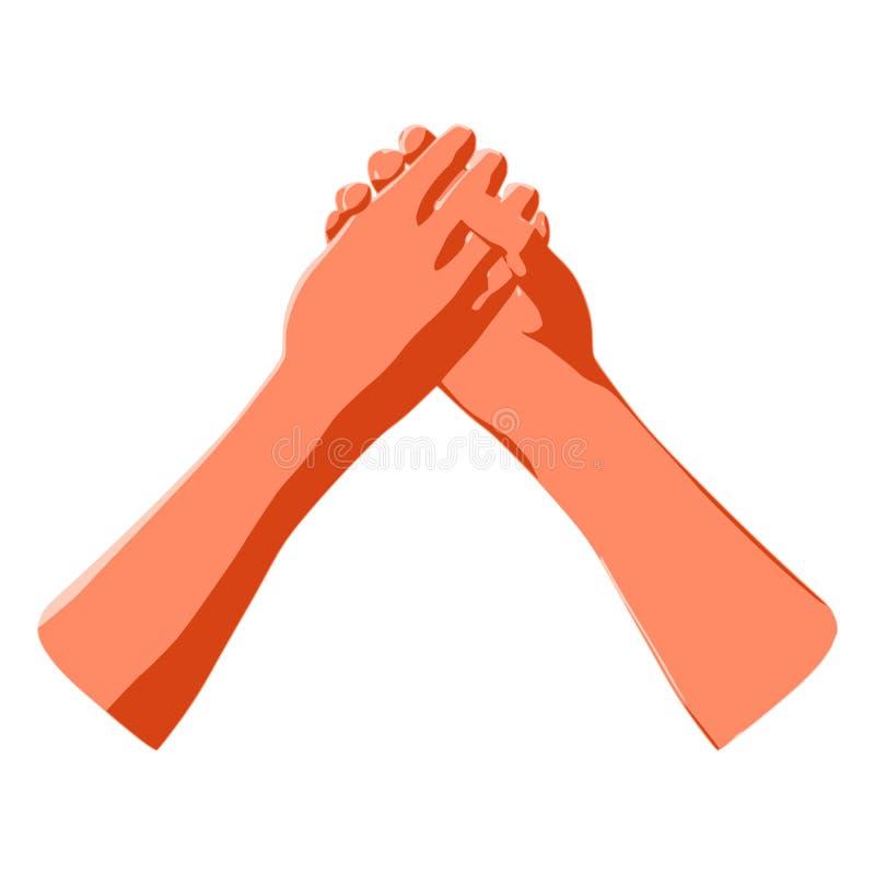 Армрестлинг и знак человеческой сыгранности, партнерства силы иллюстрация штока