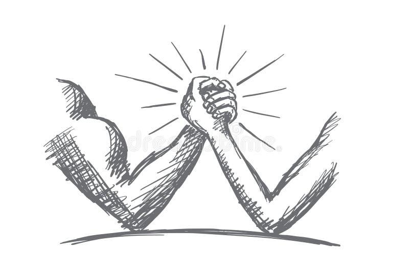 Армрестлинг нарисованный рукой между сильной и слабой иллюстрация штока