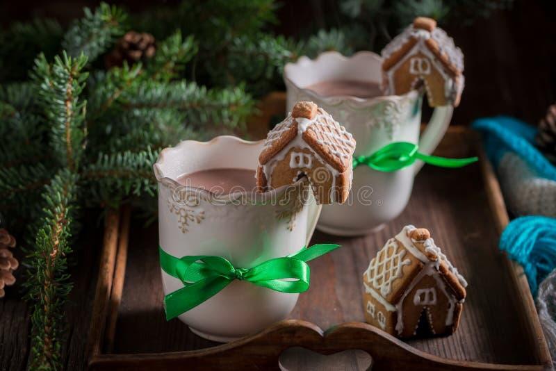 Ароматичные коттеджи пряника с вкусным какао в вечере рождества стоковое изображение