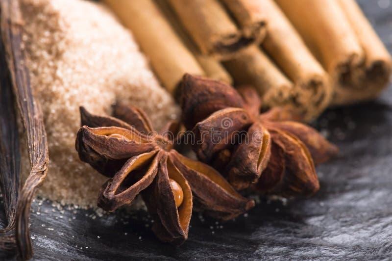 ароматичный коричневый сахар специй стоковые изображения rf