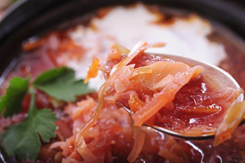 Ароматичный суп со сметаной и черным хлебом стоковая фотография