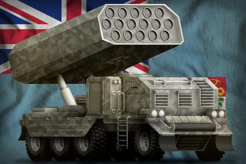 Артиллерия Ракеты, ракетная пусковая установка с серым камуфлированием на предпосылке национального флага Фиджи : бесплатная иллюстрация