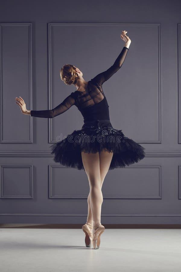 Артист балета балерины над серой предпосылкой стоковые изображения rf
