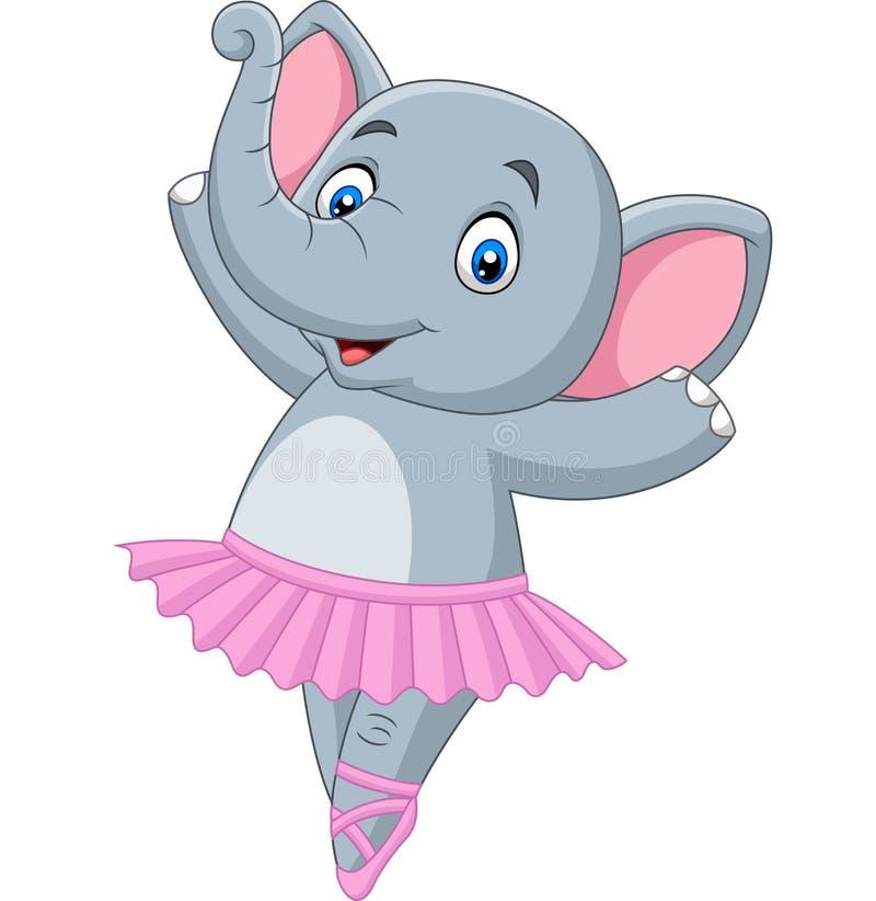 Артист балета слона мультфильма на белой предпосылке иллюстрация вектора