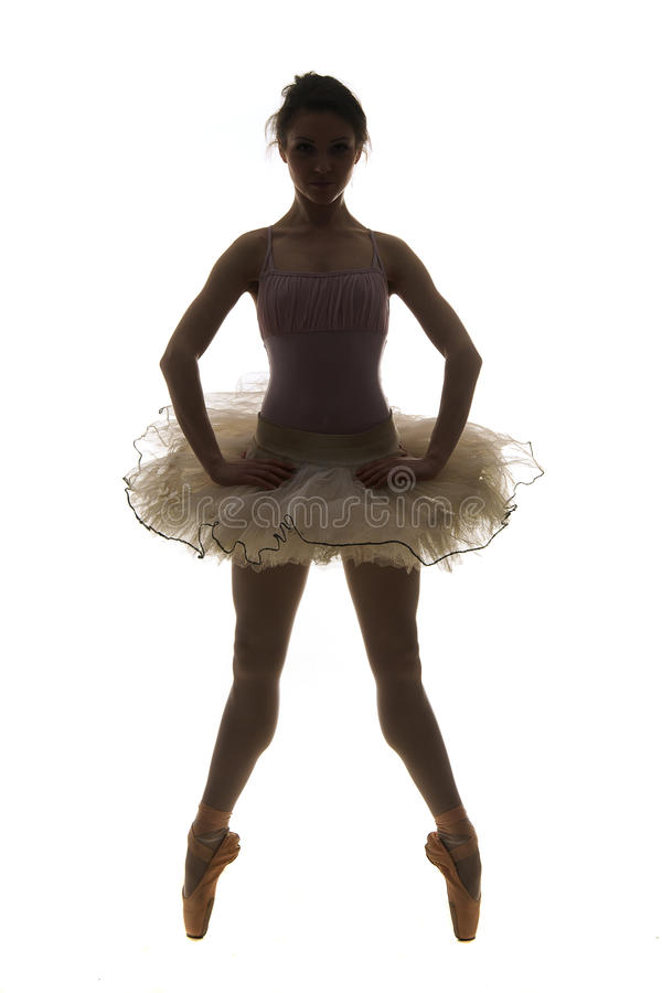 Артист балета силуэта стоковая фотография rf
