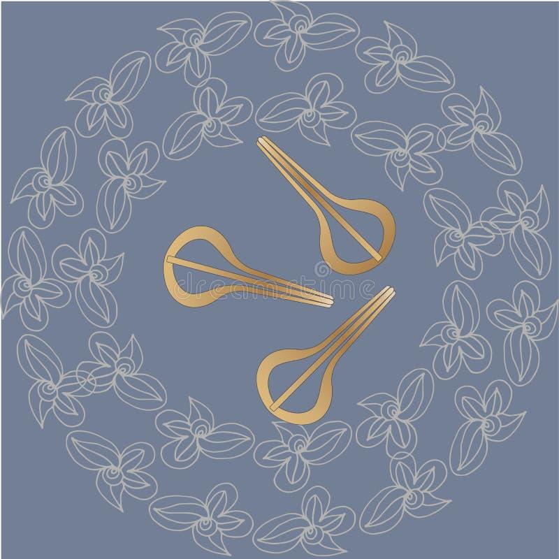 Арфы еврея в круге цветка Красивые звуки аппаратуры Музыка шамана иллюстрация вектора