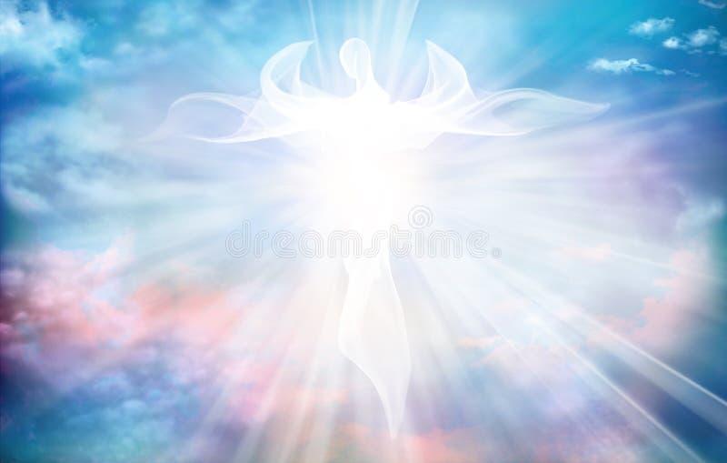 Архангель Небесный ангельский дух с крыльями Иллюстрация абстрактного белого ангела Вера Жизнь после смерти Духовный Ангел Благос иллюстрация штока