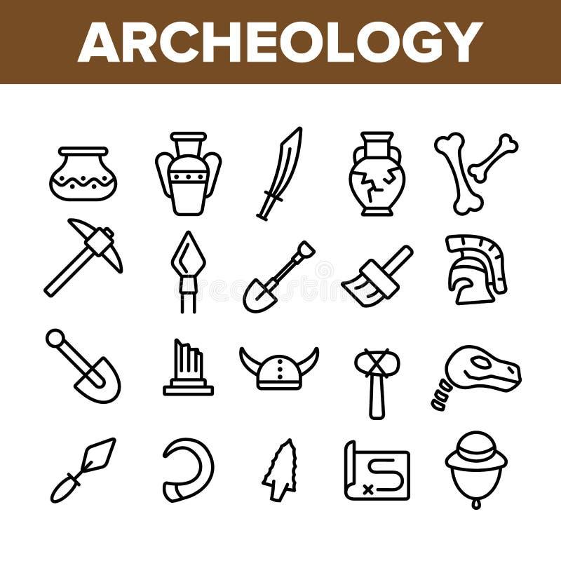 Археологические инструменты и набор значков вектора раскопок линейный иллюстрация вектора