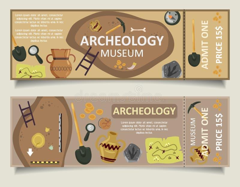 Археологический комплект шаблона вектора билета музея иллюстрация вектора