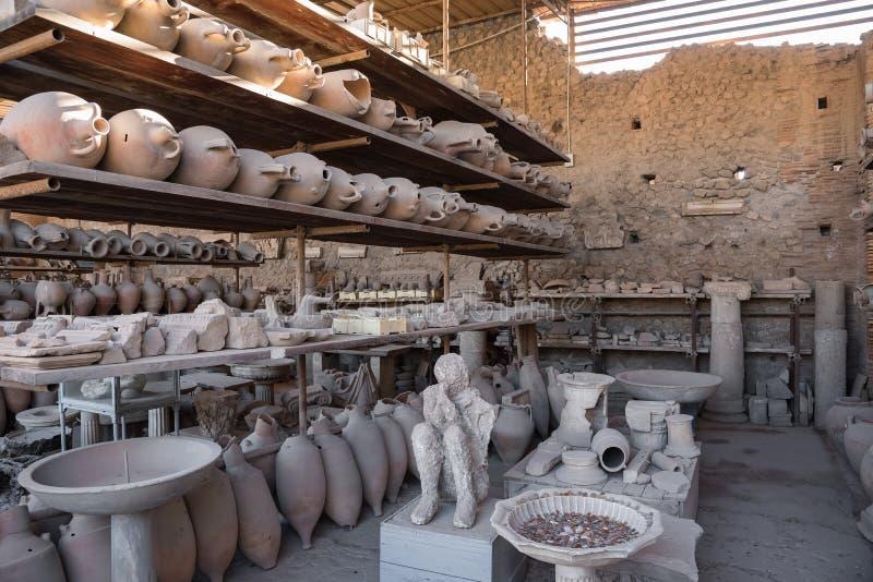 Археологические находки в Помпеи, старом римском городе стоковое фото