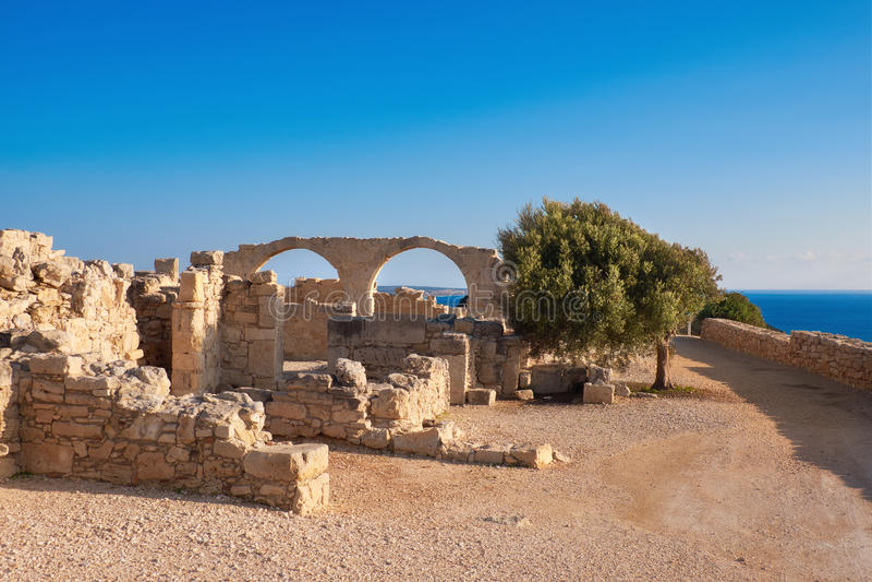 Археологический памятник Kourion в Кипре стоковое фото