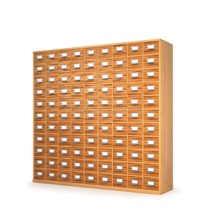 архивохранилищем Шкаф с ящиками для архивных документов illust 3d стоковые изображения