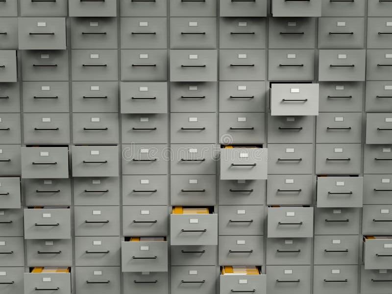 архивы шкафов архивохранилища иллюстрация штока