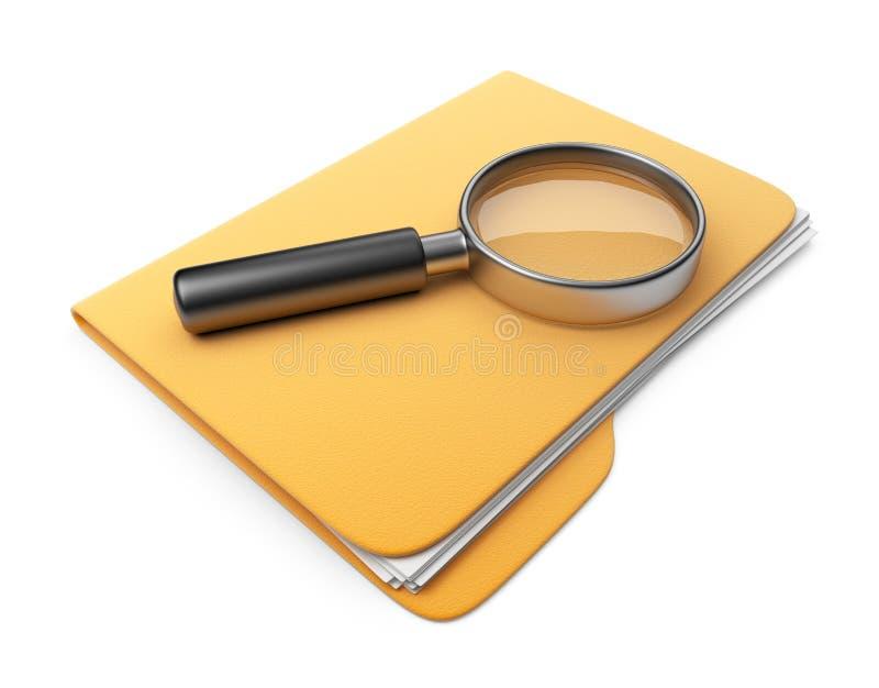 Архив и скоросшиватель поиска. икона 3D   иллюстрация вектора