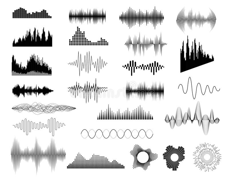 архив eps 8 предпосылок включил звуковые войны нот установленные иллюстрация вектора