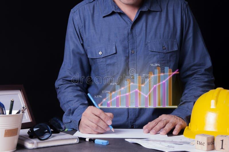Архитекторы концепции, инженер, дизайн интерьера, здание дизайна цены начала планируя на столе в офисе стоковая фотография rf