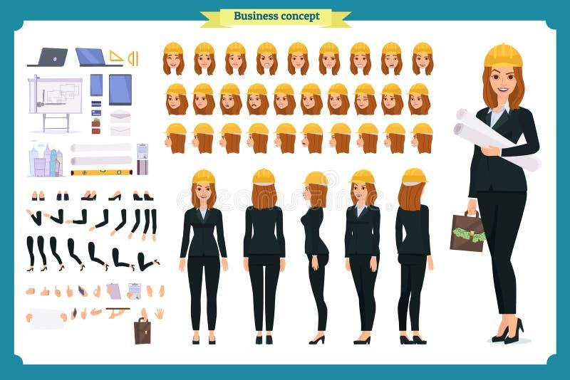 Архитектор женщины в деловом костюме и защитном шлеме Комплект творения характера иллюстрация вектора
