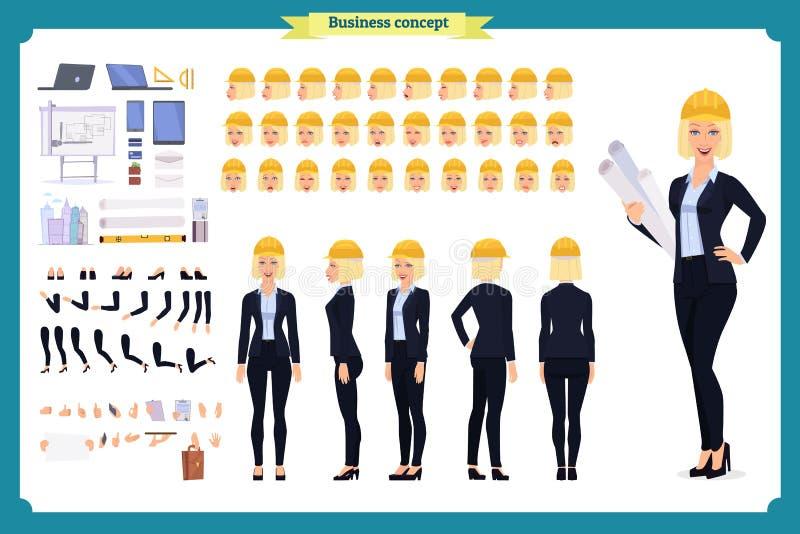 Архитектор женщины в деловом костюме и защитном шлеме Комплект творения характера иллюстрация штока