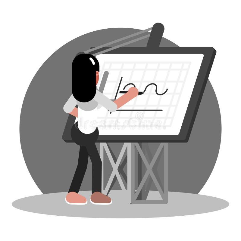Архитектор женщины рисует иллюстрация вектора