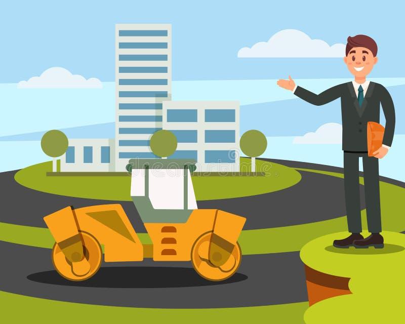Архитектор или администраторов по сбыту представляя новое здание на иллюстрации вектора предпосылки природы плоской бесплатная иллюстрация