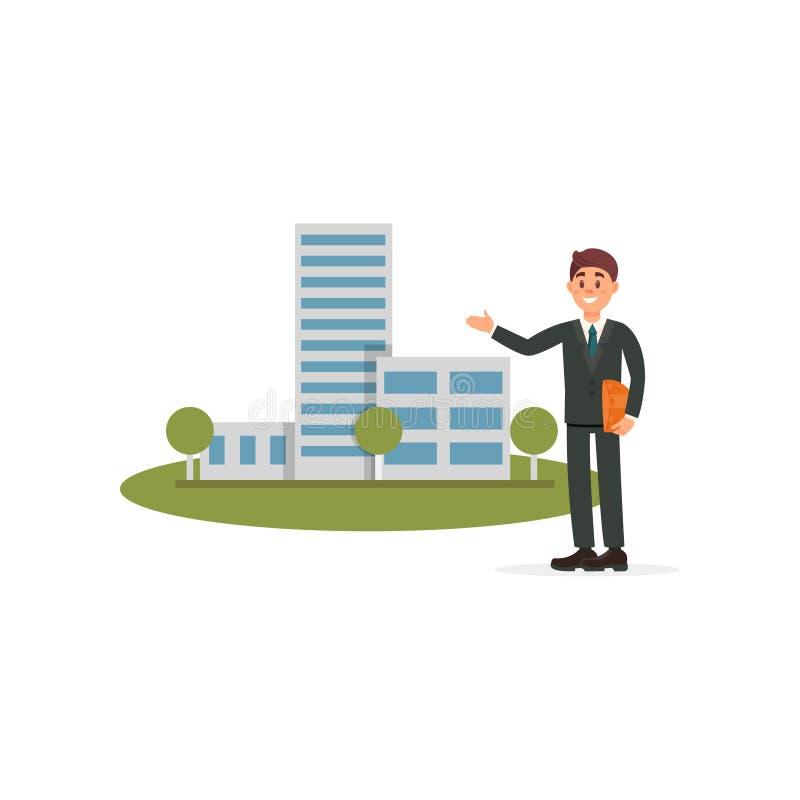 Архитектор или администраторов по сбыту представляя новую иллюстрацию вектора проекта строительства на белой предпосылке бесплатная иллюстрация