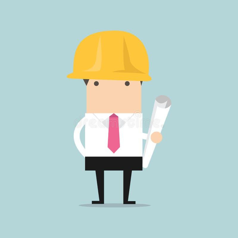 Архитектор или инженер в желтом шлеме безопасности с светокопиями проекта строительства свертывают иллюстрация вектора