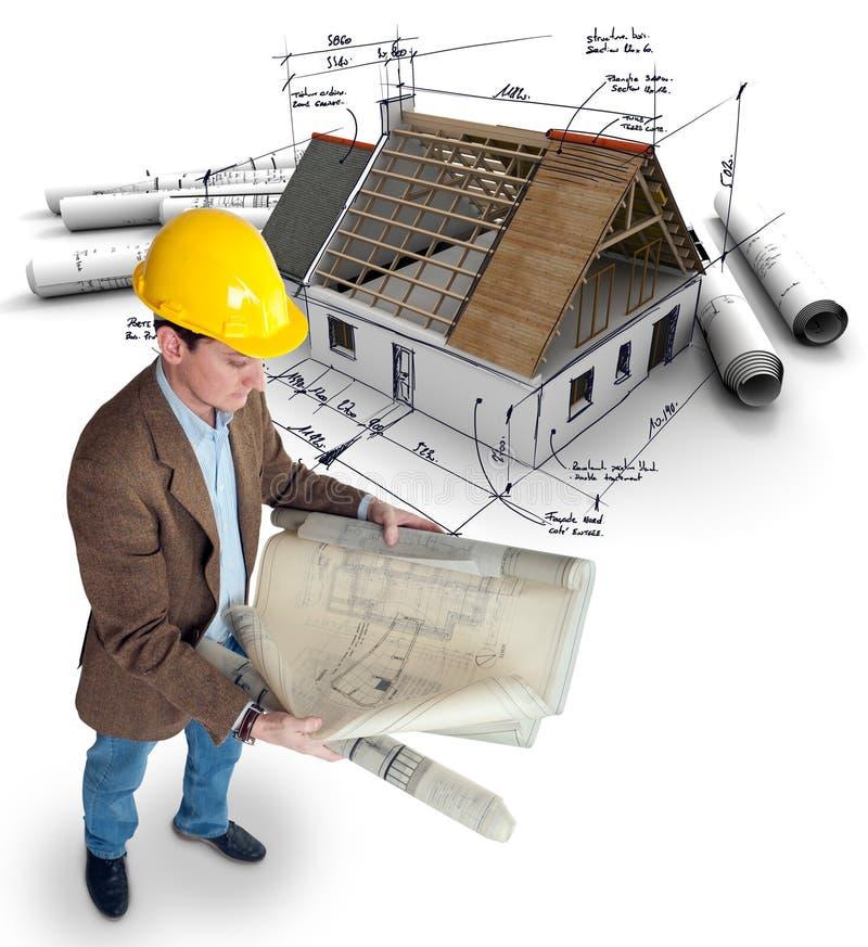 Архитектор и проект жилищного строительства иллюстрация вектора
