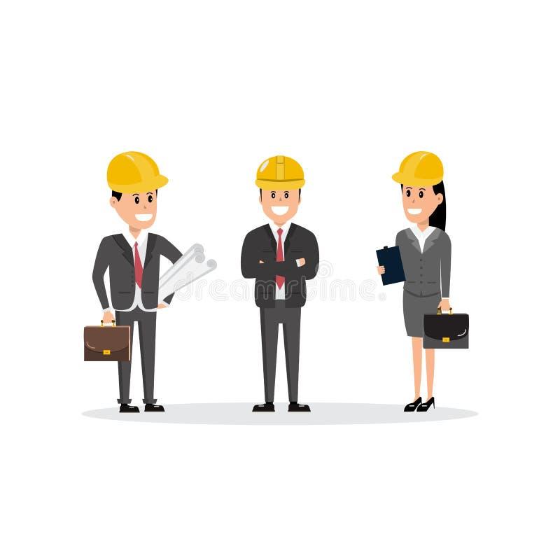 Архитектор мастера группы характеров команды рабочий-строителей и бесплатная иллюстрация