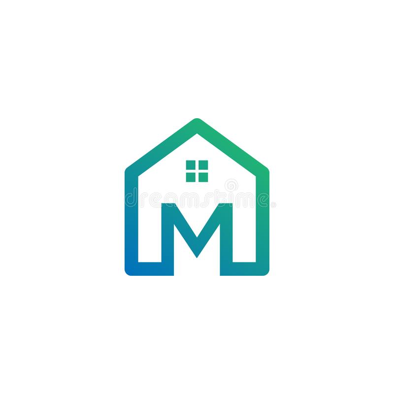 архитектор письма m, дом, шаблон логотипа конструкции творческий иллюстрация штока