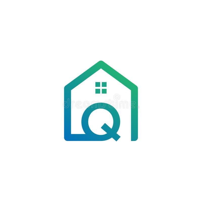 архитектор письма q, дом, шаблон логотипа конструкции творческий иллюстрация штока