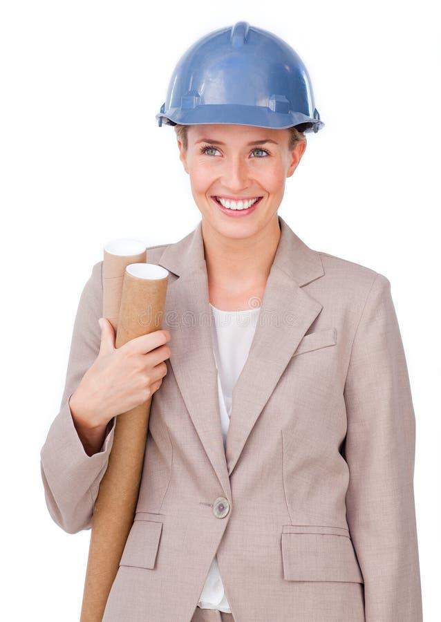 архитектор blueprints уверенно женское удерживание стоковые изображения rf