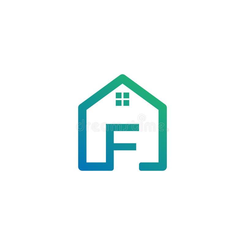 архитектор f письма, дом, шаблон логотипа конструкции творческий иллюстрация вектора
