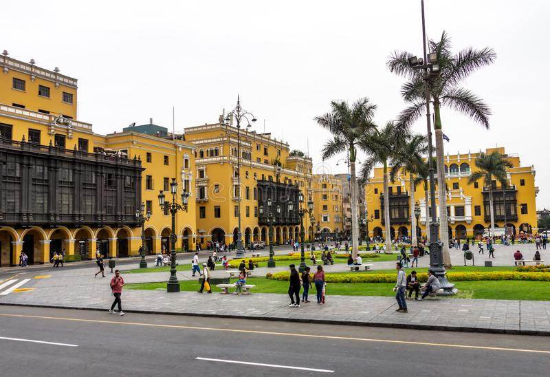 Архитектура вокруг площади Плаза Майор в центре Лимы, Перу стоковые фото