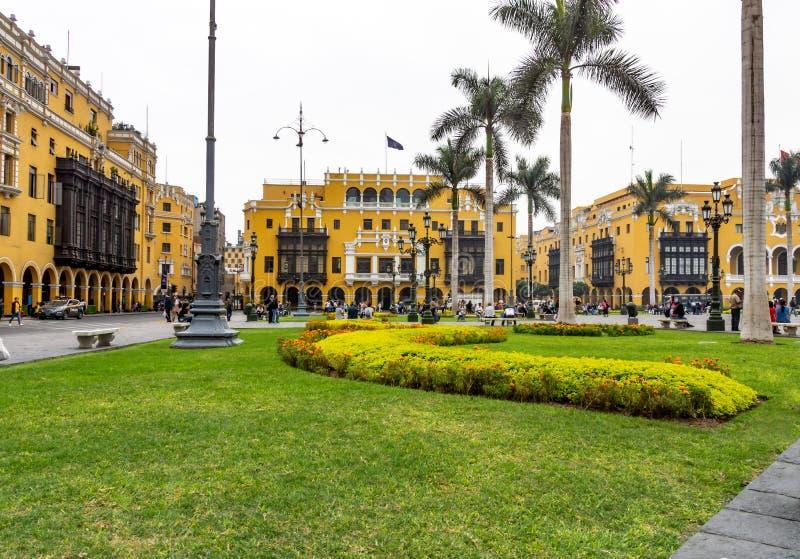 Архитектура вокруг площади Плаза Майор в центре Лимы, Перу стоковые изображения