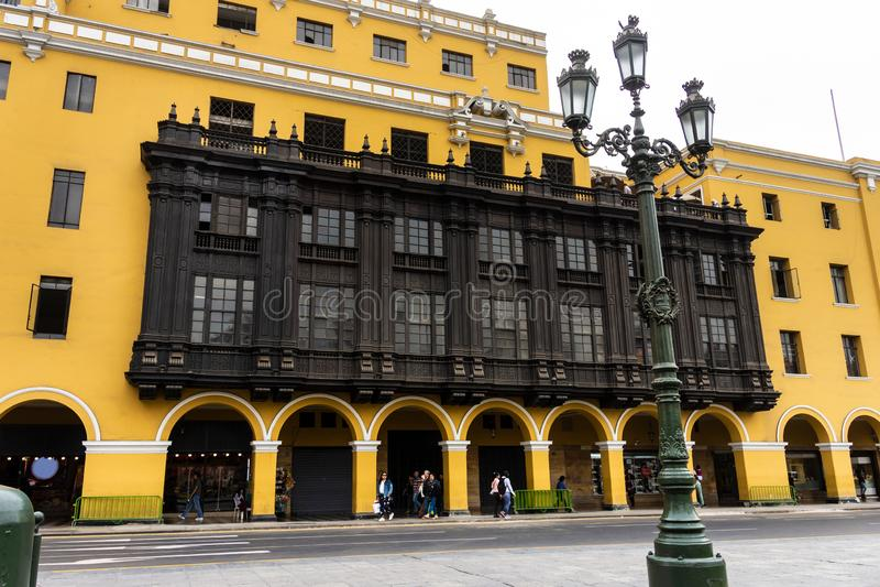 Архитектура вокруг площади Плаза Майор в центре Лимы, Перу стоковое фото rf
