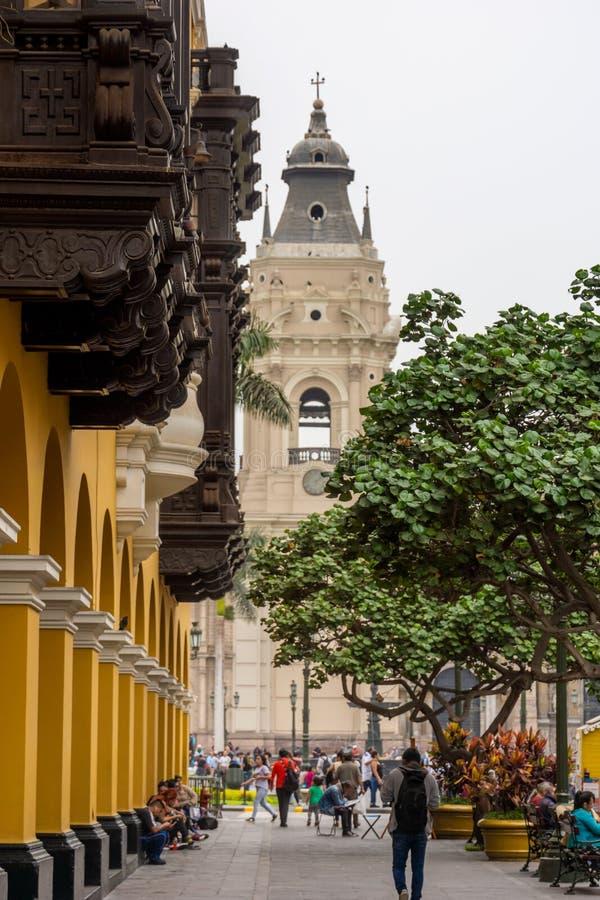Архитектура вокруг площади Плаза Майор в центре Лимы, Перу стоковое фото