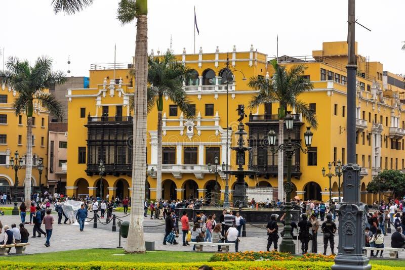 Архитектура вокруг площади Плаза Майор в центре Лимы, Перу стоковое изображение