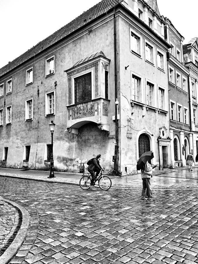 Архитектура в Poznan Художнический взгляд в черно-белом стоковая фотография rf