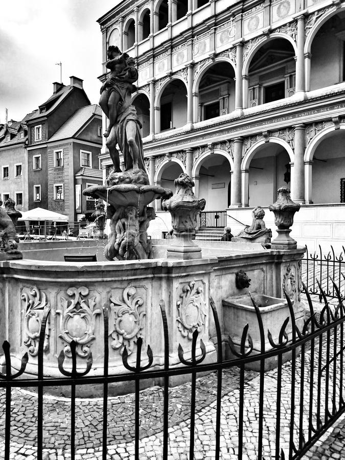 Архитектура в Poznan Художнический взгляд в черно-белом стоковые изображения