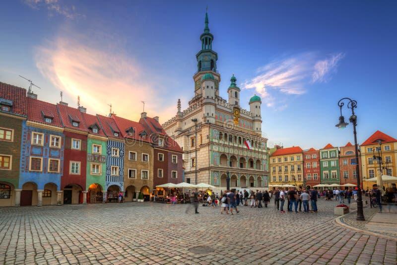 Архитектура главной площади в Poznan стоковая фотография