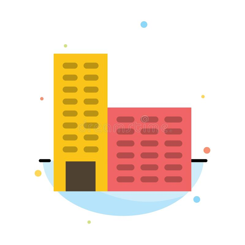 Архитектура, здание, шаблон значка цвета конспекта конструкции плоский иллюстрация штока